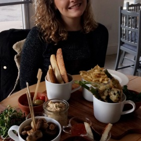 Me with my vegan feast at The Duck in Ryde, IOW, photo courtesy of my beautiful mother